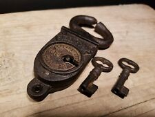 Antique Vintage Style Wrought Iron Trunk Chest Box Crab Lock Key Padlock