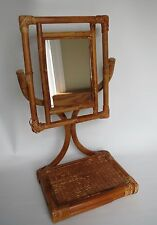 Vintage Rare Bentwood Bamboo Cane Wicker Table Top Mirror with Stand / Bohemian