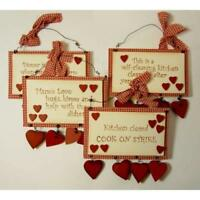 Country Style Wall Hanging Sentiment Plaque Kitchen Chic Rules Sign