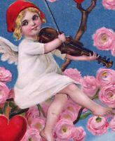 1909 Valentine~LI'L Cupid Angel SITS IN ROSE TREE, PLAYS VIOLIN~Germany~Postcard