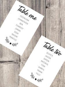 Handmade Personalised Wedding Table Plan Cards Individual Header Cards DIY Fancy