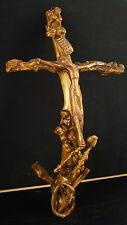 Grand crucifix XX cuivre et bois de vigne travail de compagnon ? Curiosité 45 cm