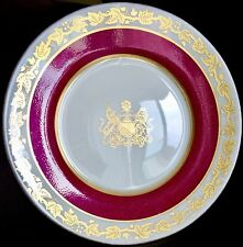 """Rare Wedgeood """"Whitehall"""" (W3994) Powder Ruby 8""""/20cm Plate With 24ct Gold Motif"""