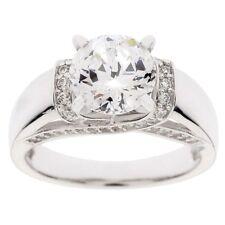 QVC Diamonique Ring  Sterling Silver 100-Facet 2.35 cttw Fancy Gallery Size 8