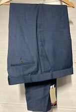 RRP £ 135-Chester Barrie punteada cheque a medida Traje Pantalones, Azul, 40R