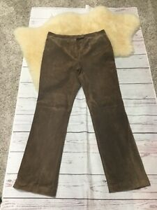 Lord & Taylor Size 12 Pants Lined Womens Brown Suede Vintage 80's Hi Rise Boho