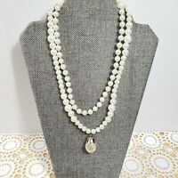 Vtg Faux Pearl Necklace Graduated Double Strand Baroque Pendant Box Clasp