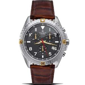 Accurist Chronograph Black Dial Brown Leather Strap Gents Watch 7142