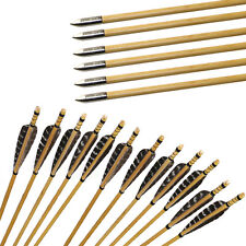 "31"" Wood Arrows Archery Hunting Turkey Fletching Feather Field Points Target 6pk"