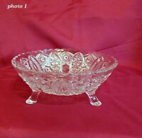 Pressed Glass Bowl - Heavy Glass - Footed 7 inches in dia