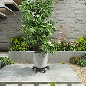Ramzyh Metal Plant Caddy Heavy Duty Iron Potted Plant Stand with Wheels Round...