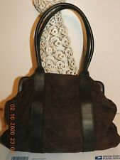 BODEN Handbag Shoulder Bag Brown Suede Large Size Push Lock Closure Great Condit