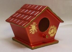 Hand Painted Ceramic Birdhouse, Metallic Copper with Gold