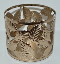 NEW BATH & BODY WORKS GOLD LEAVES LEAF LARGE 3 WICK CANDLE HOLDER SLEEVE 14.5 OZ