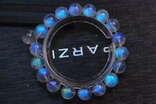 9.8mm Natural Burma Moonstone Rainrow Blue Light Round Beads Bracelet AAAA