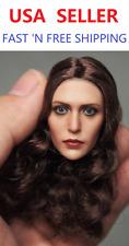 1/6 Scale Elizabeth Olsen Scarlet Witch w/ BROWN CURLY hair Head Sculpt