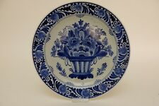 Antique Dutch Delft Plate, Flowerbasket, marked and date 1932, 25cm