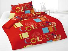 housse de couette 220x240 cm + 2 taies d'oreiller COLORS Rouge INTEMPOREL