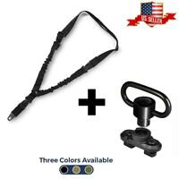 Single Point Sling Bungee Gun Strap With BONUS Rifle Sling Swivel Accessory