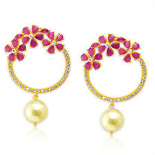 Spargz Gold Plated Pretty Pink Ruby Drop Earrings For Women AIER 674