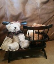 Boyds mohair bear set with Tete A Tete wooden doll furniture collectible toys