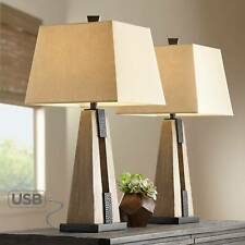 Rustic Farmhouse Table Lamps Set of 2 with USB Wood...