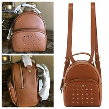 NWT FURLA Frida Studs Mini Brown Leather Backpack