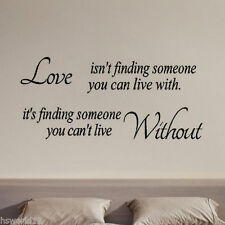 LOVE ISNT FINDING Black Decal Mural Wall Paper Removable Sticker Home Art DIY UK