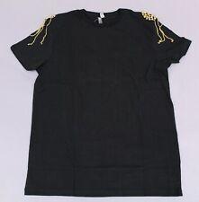 ASOS Men's T-Shirt With Gold Shoulder Pads SV3 Black Medium