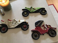 Vintage Set of 3 Sexton USA Automobiles Cars Cast Metal Wall Hangings