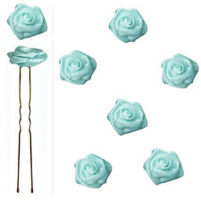 6 épingles pics cheveux chignon mariage mariée danse roses satin bleu pâle clair