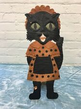 Vintage German die cut embossed Black Cat Maid Halloween Decoration Standing