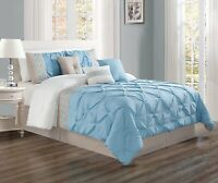 7Pc King Size Light Blue Grey White Double-Needle Pinch Pleat Comforter Set