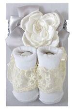 Cream/Gray Headband & Lace Socks Set by Stephan Baby