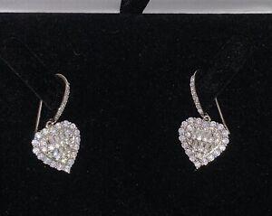 18K White Gold Diamonds Drop Dangle Earrings