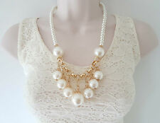 "Gorgeous 20"" long gold tone & faux pearl necklace & earrings set"
