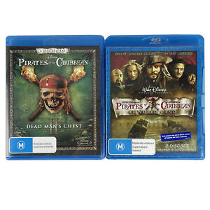 Pirates Of The Caribbean Dead Man's Chest and At World's End Blu-ray DVDs