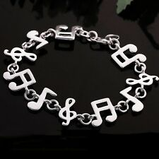 Cute Music Note Ladies Bangle Sterling Plated Silver Women Bracelet Chain