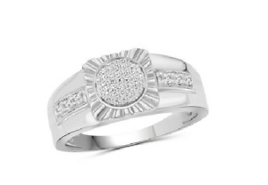 Gimmer Round Cubic Zirconia In 925 Silver Men's Amazing Gorgeous & Classy Ring