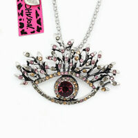 Betsey Johnson Crystal Rhinestone Evil Eye Pendant Chain Necklace/Brooch Pin
