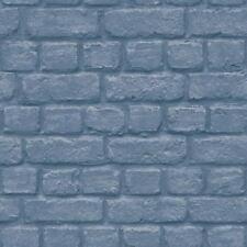 Urban Brick Effect Blue Wallpaper Embossed Textured Industrial Metallic Silver