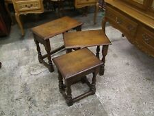 Vintage French Country House Style Dark Oak - Nest of 3 Tables - (COBNT30)