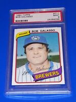 1980 Topps Baseball Bob Galasso Card #711 PSA 9 Mint Milwaukee Brewers MLB