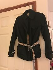 Burberry Black Cape Mac Short Trench Coat Nova Check Belt Rrp£679 Stunning