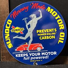 Vintage 1937 Sunoco Mercury Made Motor Oil Porcelain Gas Pump Station Sign