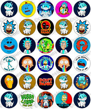 30 x Rick and Morty Fun Party Edible Rice Wafer Paper Cupcake Toppers