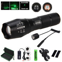 6000LM Flashlight Zoomable Hunting Torch LED Tactical Light Lamp Switch+Mount