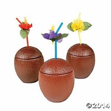 12 REALISTIC BROWN COCONUT CUPS & 12 FLOWER STRAWS NEW 16oz FUN COLORS