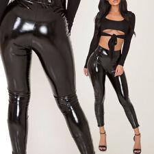 Women Wet Look Glossy Skinny Leggings Pencil Pants Punk Club PVC Leather Trouser