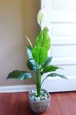 "8 Leaves 32"" Artificial Palm White Flower Tree Home Garden Landscape"